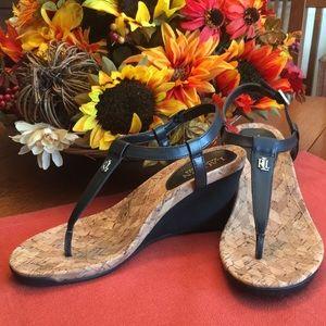 Ralph Lauren black wedge sandal sz 8.5